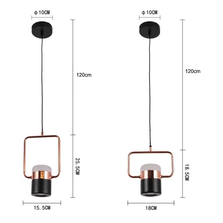 Nouveau pendentif LED postmoderne lumières plaqué or rose en fer forgé nordique simple suspension lampe salle à manger chambre lampe à main lumière - 6
