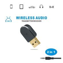2 in 1 Bluetooth 5,0 Empfänger/Sender Drahtlose Bluetooth Adapter USB 3.5mm AUX Mit Call MIC für PC Auto audio Lautsprecher