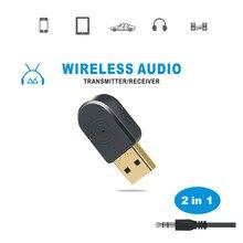 2 in 1 Bluetooth 5.0 Ricevitore/Trasmettitore Senza Fili di Bluetooth Adattatore USB 3.5 millimetri AUX Con Call MIC per PC car Audio Altoparlante