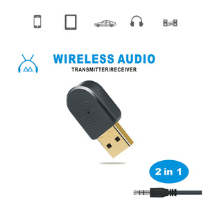 Image 1 - 2 in 1 Bluetooth 5.0 alıcı/verici kablosuz Bluetooth adaptörü USB 3.5mm AUX çağrı mikrofon PC automobile için ses hoparlör