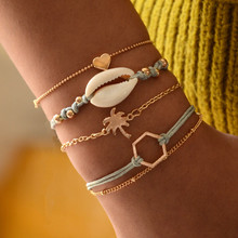 New Retro Female Heart Ship Bracelet  Bead Chain Hollow Multilayer Set Exquisite Party Clothing Jewelry