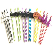 10Pcs Straw Set Tropical Drinking Paper Straws For Halloween Household Disposable Festive Party SuppliesCM