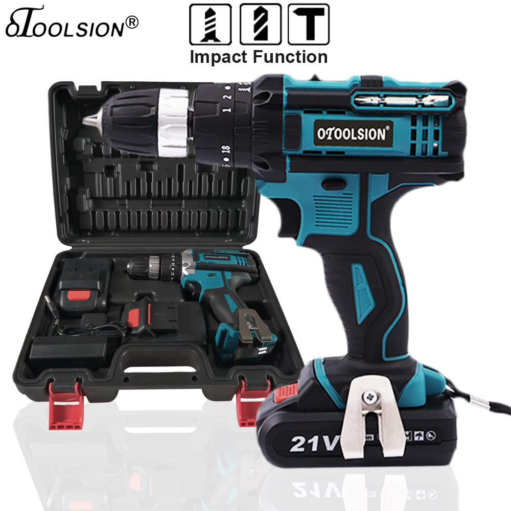 21V 18+3 Torque Impact Drill Cordless Screwdriver Power Tools Screwdriver Impact Hammer Drill Screwdriver With PlasticTool Box