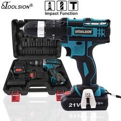 21V 18+3 Torque Impact Drill Cordless Screwdriver Power Tools Screwdriver Impact Hammer Drill Screwdriver With PlasticTool Box