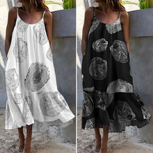 Bohemian Sundres Women Dress 2020 VONDA Summer Sleeveless Maxi Long Dress Beach Holiday Casual Loose Robe Plus Size Vestidos