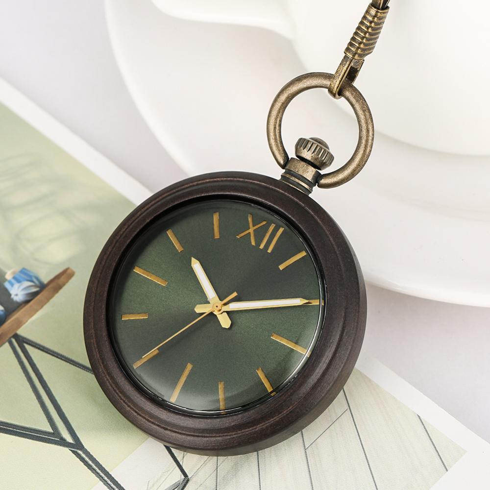 Open Face Wood Pocket Watch Gleen Dial Natural Ebony Wooden Pendant Watch Chain Luminous Hands Round Pocket Clock Reloj Bolsillo