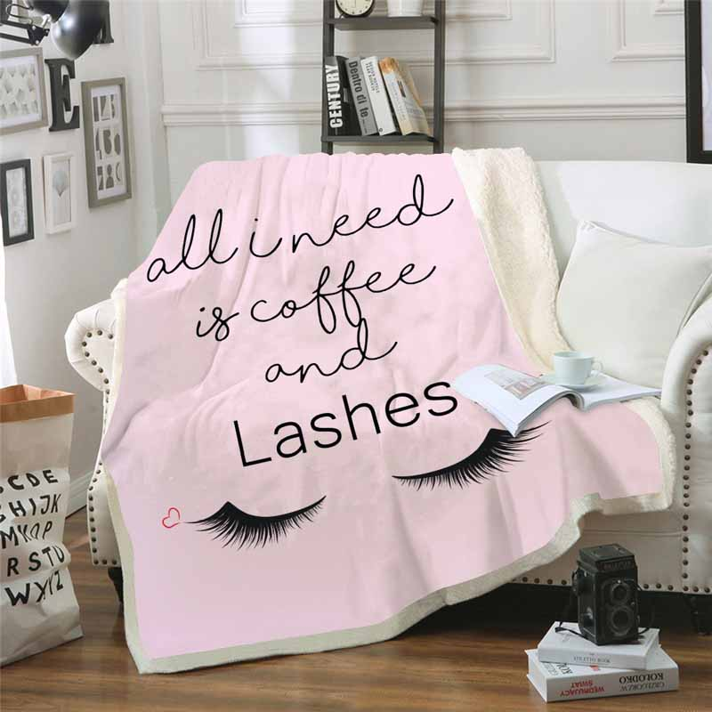 Плюшевое покрывало розового и золотого цвета с рисунком ресниц единорога для кроватей, дивана, флиса, покрывало, зимнее покрывало, плотное п...