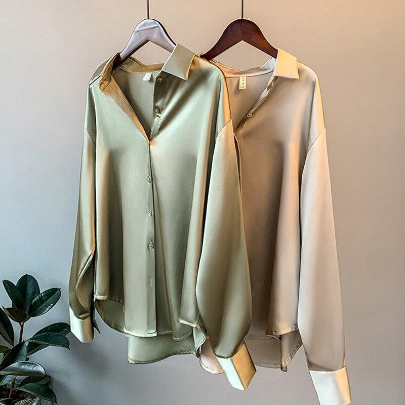 2020 Autumn Long Sleeve Satin Blouse Women Elegant White Shirt Korean Style Turn-Down Collar Imitation Silk Formal Shirts Tops