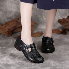 Women's Concise Flat Slip-on Shoes  Lady Genuine Leather Loafer Girls Hollow Out Buckle Designer Loafers Casual Breathable