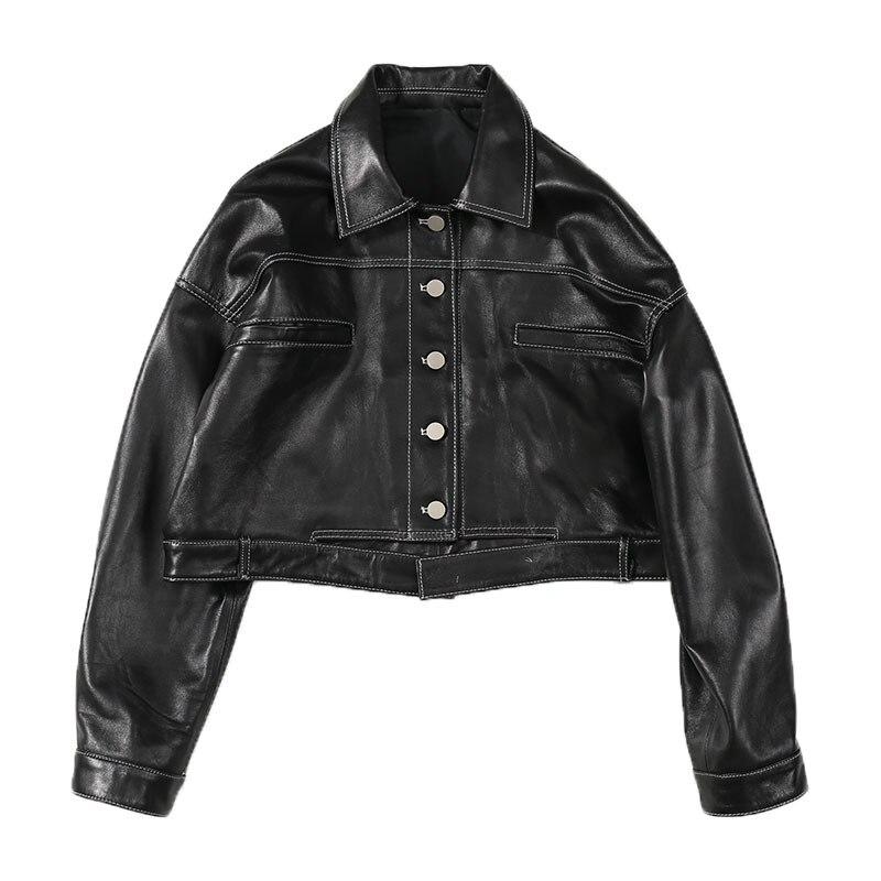 Autumn 2020 Commuter Leather Garment Sheepskin Slim Short Long Sleeve Coat
