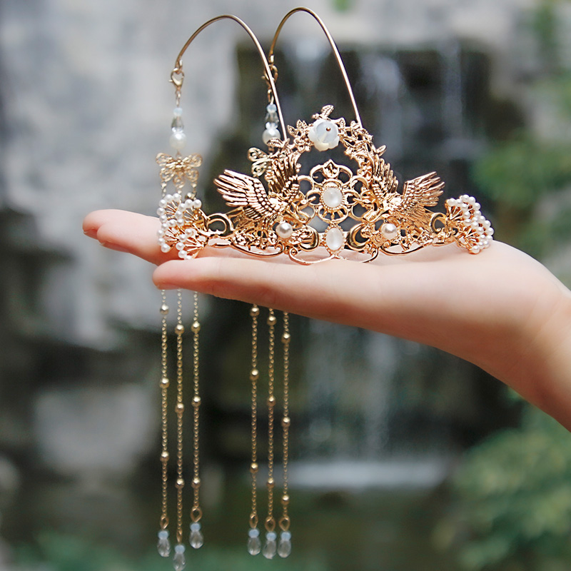 YYOUFU Women Girl Photography Chinese Style Ancient Costume Accessories Bridal Tiara Hairpin Hair Accessories Antique Crown