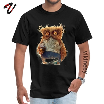 Diminetile sunt grele Owl Men T Shirts New Coming Simple Style Black Tshirt Summer Camisa 100% Cotton Loose Tee Shirt Custom image