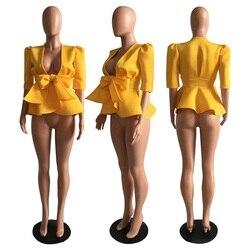 Women Scuba Bowtie Peplum Blouse Shirts Half Sleeve Sexy V Neck Tops Elegant Office Ladies Workwear Streetwear 5