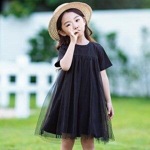 Image 4 - Новинка 2020, детская одежда, платья для маленьких принцесс, Сетчатое лоскутное вечернее платье для девочек, летнее платье для подростков и детей, симпатичное Хлопковое платье, #8402