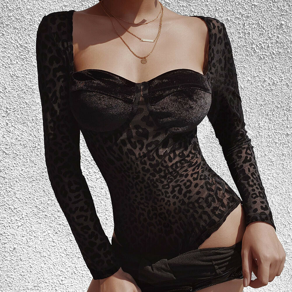 Autumn Sexy Black Leopard Print Mesh See through Skinny Bra Shaped Long Sleeve Bodysuit Women Shirt 2019 Chic mujer Jumpsuits