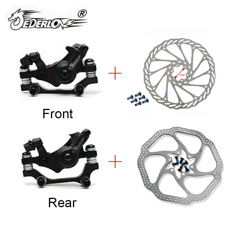 JEDERLO MTB Bike Alloy Mechanical Disc Brake rotor 160 180 MM Calipers Clip Rotor Set Front Rear Mountain Bicycle Parts