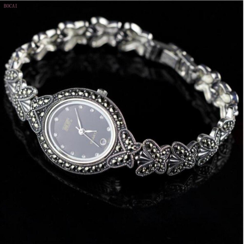 Zilver 925 S925 sterling zilveren armbanden voor vrouwen 2019 nieuwe stijl mode sieraden handgemaakte vlinder retro Horloge armbanden - 4