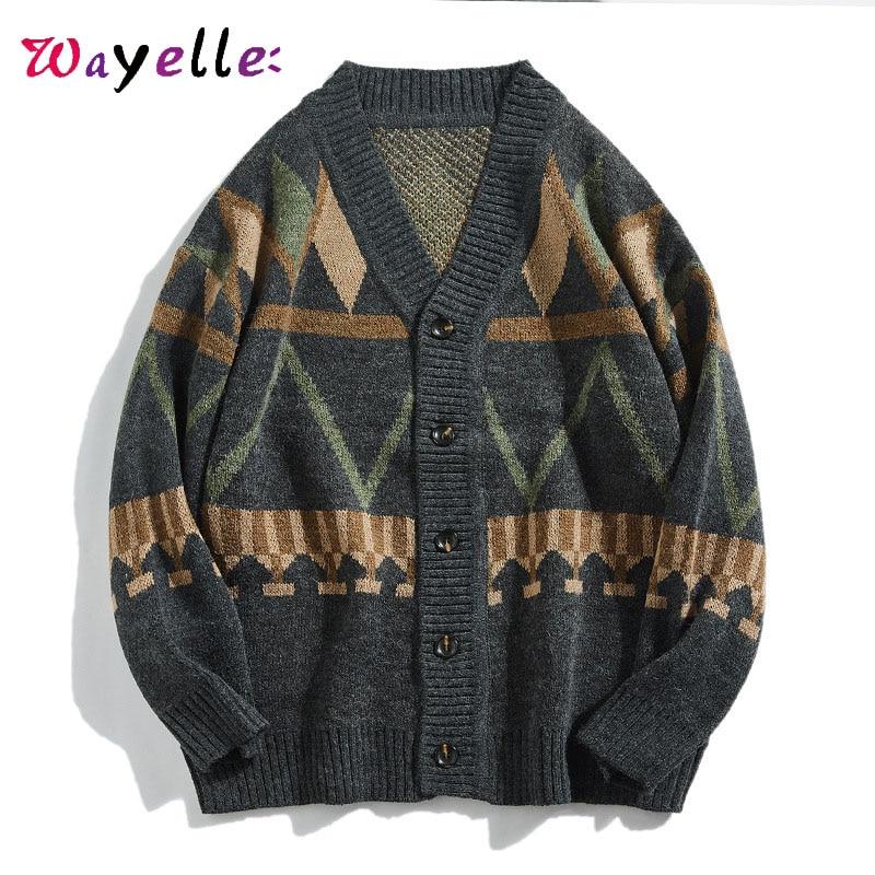 Sweater Men Cardigans 2019 Winter Casual Single Breasted Knitted Sweater Men Japanese Streetwear Men Ugly Christmas Sweater Men