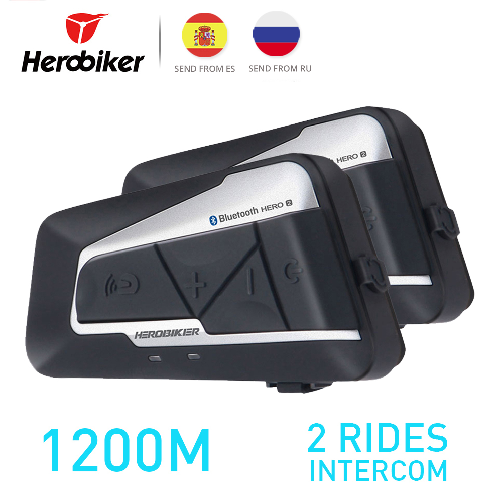 HEROBIKER 2 Sets 1200M BT Motorcycle Helmet Intercom Waterproof Wireless Bluetooth Moto Headset Interphone FM Radio for 2 Rides