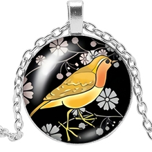 2019 New Handmade Cartoon Woodpecker Yellow Enamel Pendant 3 Color Glass Cabochon Necklace Fashion Jewelry Sweater Chain