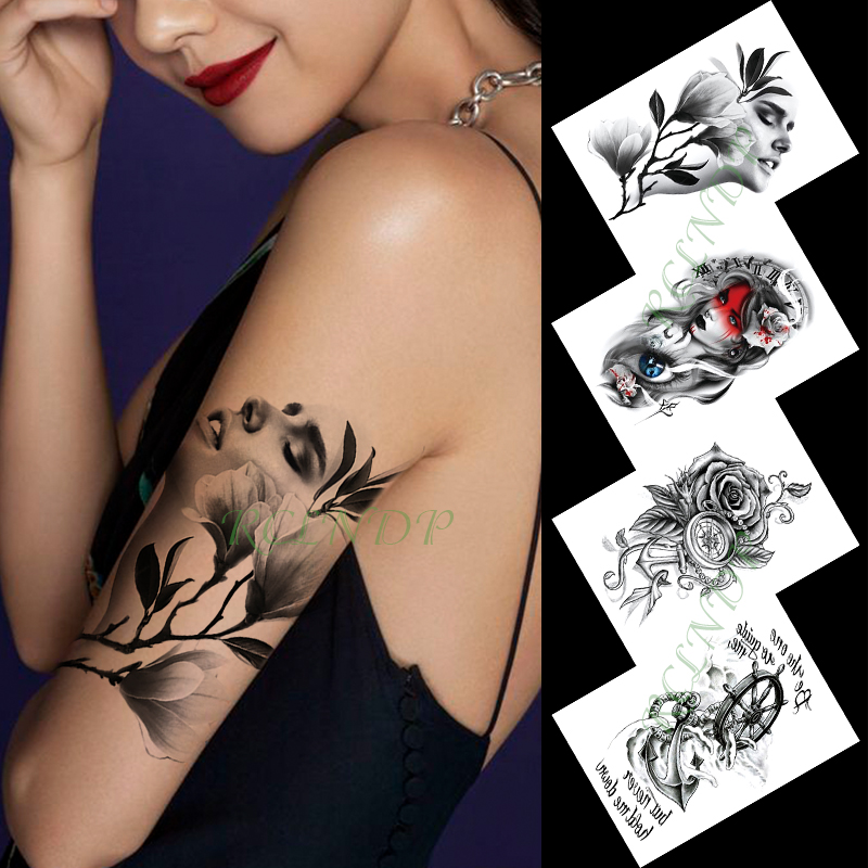 Waterproof Temporary Tattoo Sticker Sexy Girl Flowers 4 In Lot Compass Large Size Art Flash Tattoo Fake Tattoos For Men Women