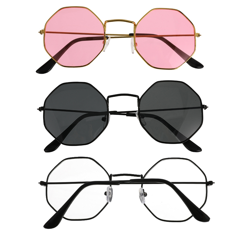 Unisex Retro Polygon Sunglasses Female Metal Frame Eyeglasses Original Clear Lens Glasses 3 Styles High Quality