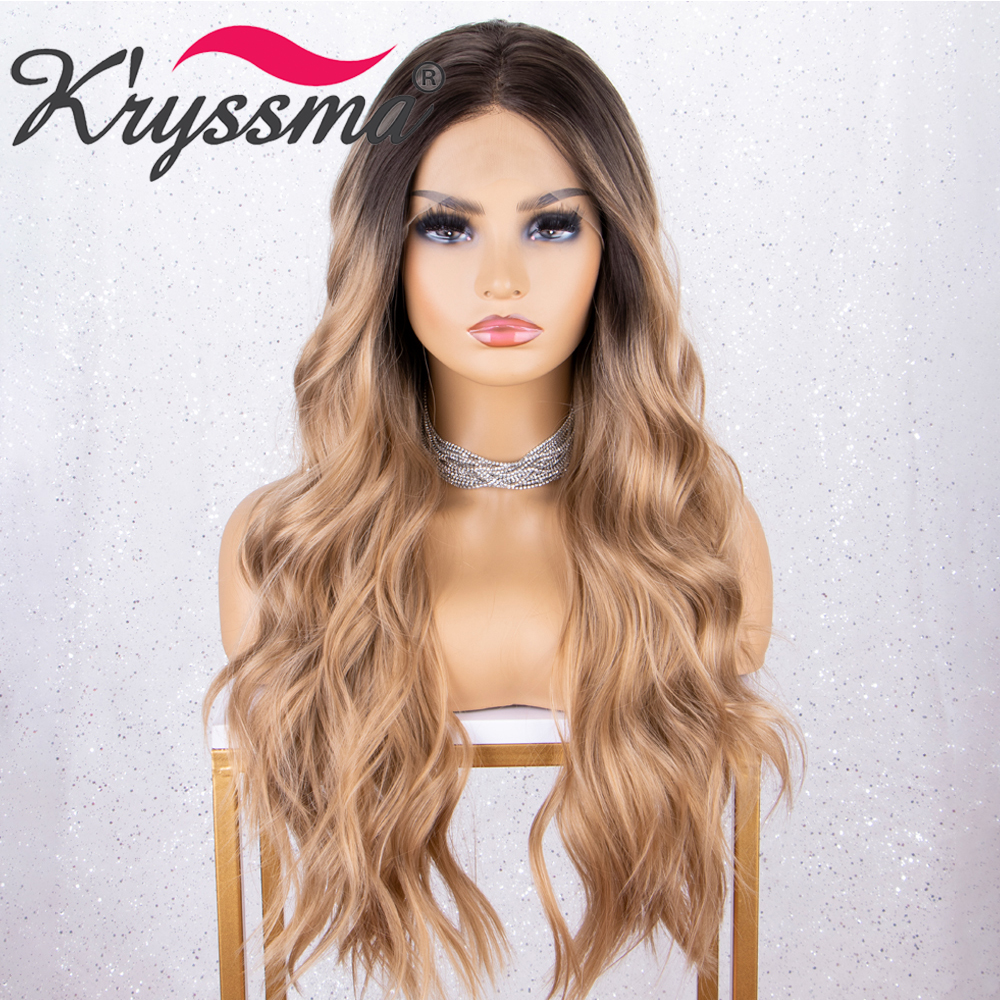 Kryssma 13x3 Lace Ombre Blonde Wig Body Wave Synthetic Lace Front Wigs For Black Women Cosplay Wig Heat Friendly Long Wig