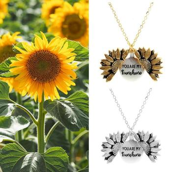 Women Gold Necklace You Are My Letters Sunshine Open Locket Sunflower Pendant Necklace For Girlfriend Gifts image