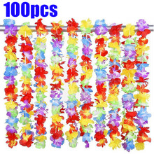 100pcs/lot Hawaii Party Leis Flower Wreath Garland Hawaiian Necklace Torpil Hawai Floral Farmhouse Decor