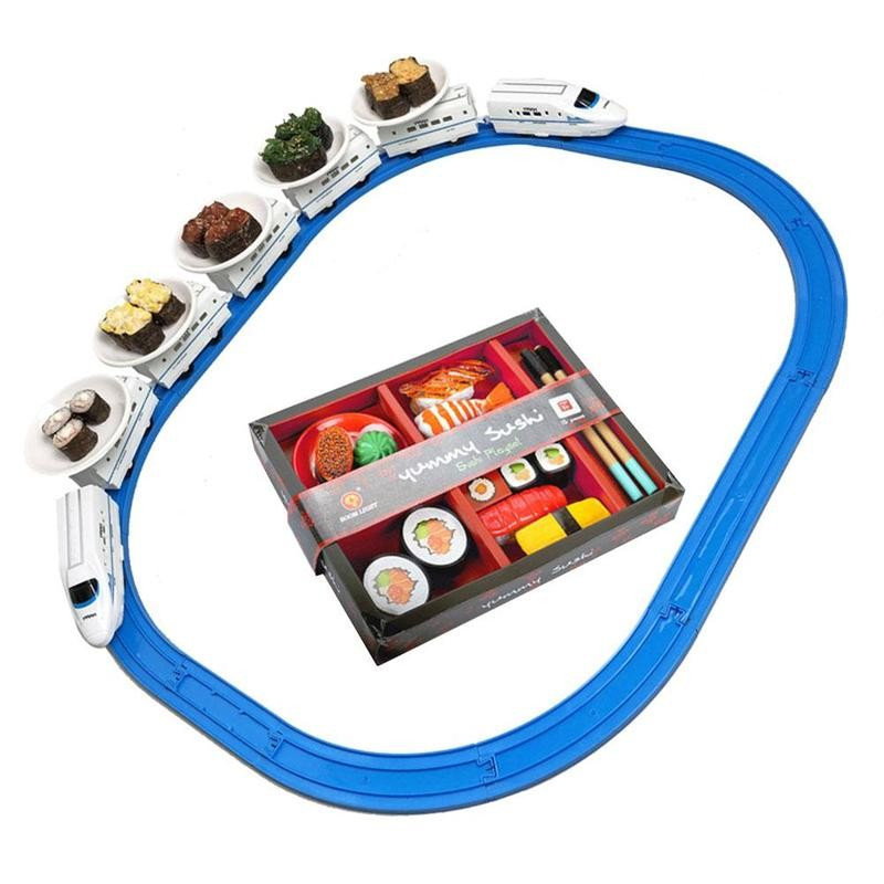Train Sushi Toy Electric Rail Car Simulation Model For Children At Home Play Railway Kid Food Train Set Rail Simulation Model