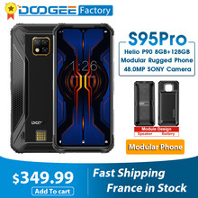 DOOGEE-wytrzymały smartfon modularny S95 Pro z ekranem 6,3 cala, telefon komórkowy, modułowy, 8 GB, 128 GB, ośmiordzeniowy procesor Helio P90, akumulator 5150 mAh, aparat 48 MP, Android