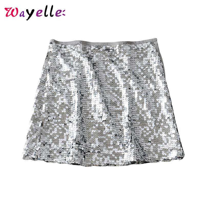 Мини-юбка с пайетками, женская летняя Базовая Сексуальная вечерняя юбка с боковой молнией, Шикарная стильная блестящая мини-юбка с блестками, винтажная короткая юбка