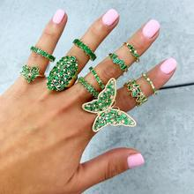 Goud Kleur Wit Groen Baguette Cz Verharde Grote Vlinder Luxe Cocktail Ring Voor Vrouwen
