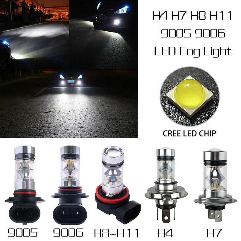 2Pcs High Power Foglight 60W Extremely Bright 6000K COB LED Lights Canbus Bulbs 1000LM DRL H4 H7 H8 H11 9005 9006 Car Styling