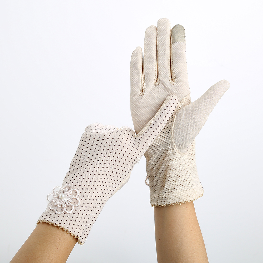 Women's Sun Protection Gloves High Elastic Lace Design Dots Pattern Anti-skid Accessories