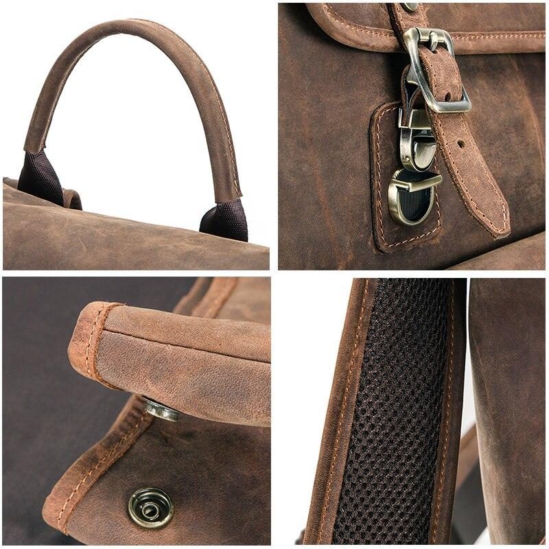 Masculino genuíno crazy horse couro portátil mochila de viagem de negócios vintage saco para 13.3 portátil e notebook - 5