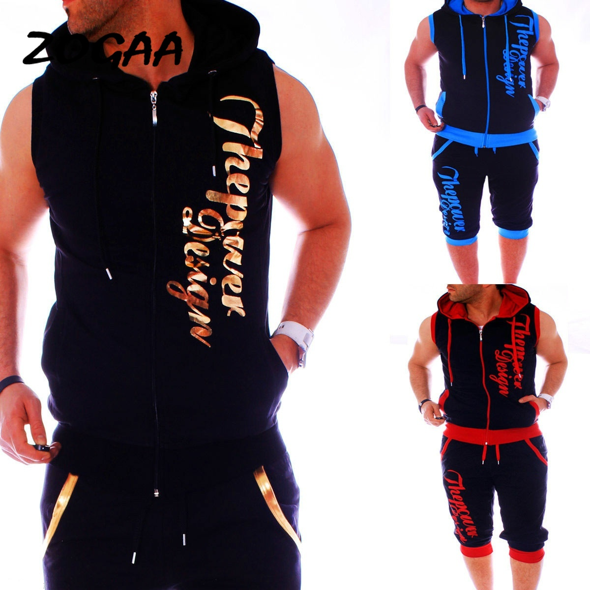 ZOGAA Letter Printed Tracksuit For Men Clothing Men Sweatsuits Casual Mens Jogger Set 2 Piece Sleeveless Hoodies With Shorts Set