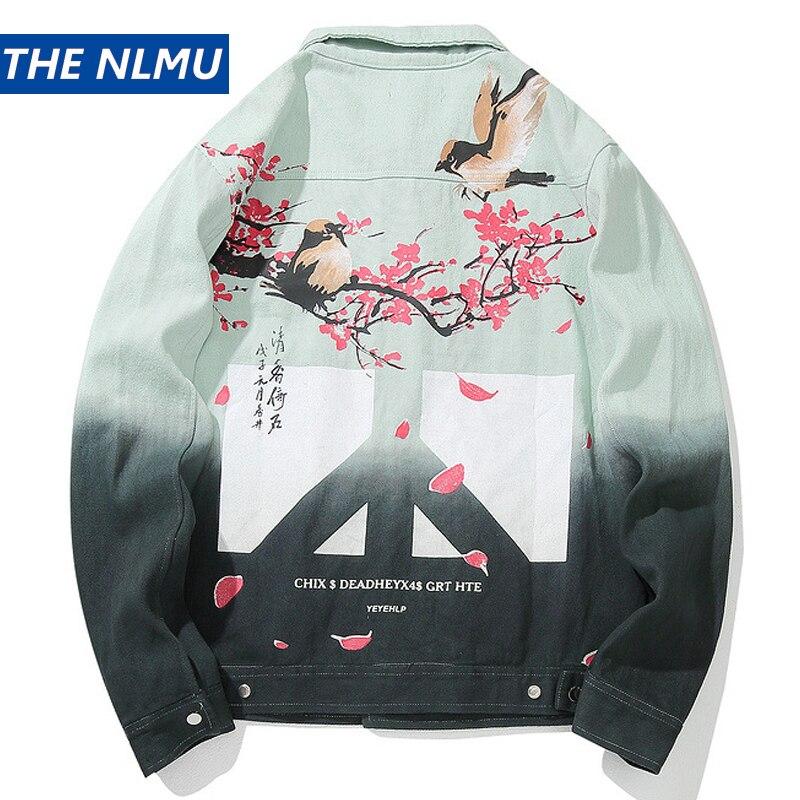 Streetwear Denim Jackets Men Hip Hop Flower Jeans Coat Long Sleeve Chinese Style 2019 Fashion Mens Casual Jacket Cotton HZ088