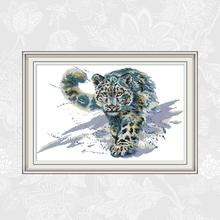 Snow leopard Paintings Cross Stitch Printed Canvas, DIY Handmade Embroidery Sets, DMC Cotton Thread Crafts Needlework