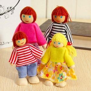 Новая деревянная мебель, Миниатюрная игрушка, мини деревянные куклы, семейная кукла, Детская домашняя игрушка, подарки для мальчиков и дево...