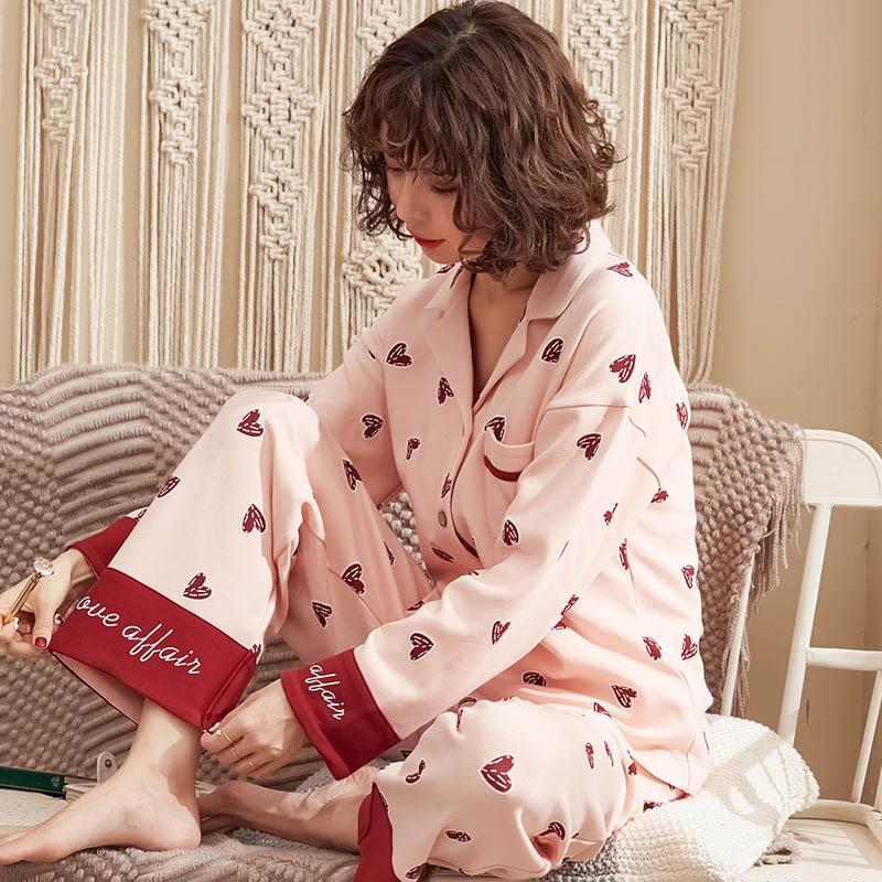 Tonmodi Дамский пижамный комплект весна и осень тонкий японский сладкий мультфильм печати с длинным рукавом милый Кукла Пижама с воротником Повседневная - Цвет: 6928