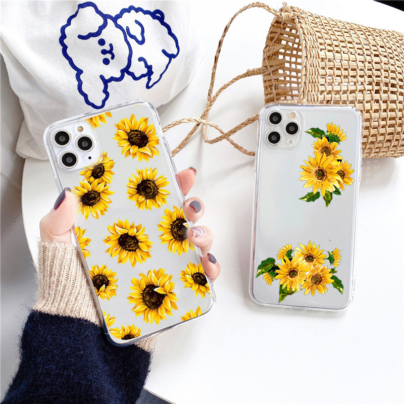 INS Sunflower Women Fashion Clear Phone Case for Iphone 11 Pro Max Cover for Iphone XS X XR 8 7 Plus Se 2020 Tumblr Back Case