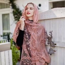 Women Simulation Silk Scarf Foulard Femme Luxury Brand Shawl Bufandas Invierno Mujer Pashmina Poncho and Caps Head Lace