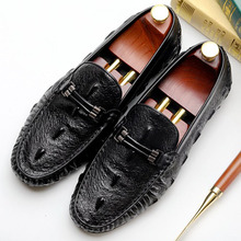 2019 New Crocodile Skin Mens Loafer Flat Shoes Luxury Casual Shoes High Quality Genuine Leather Male Slip On Mens Driving Shoes цены онлайн