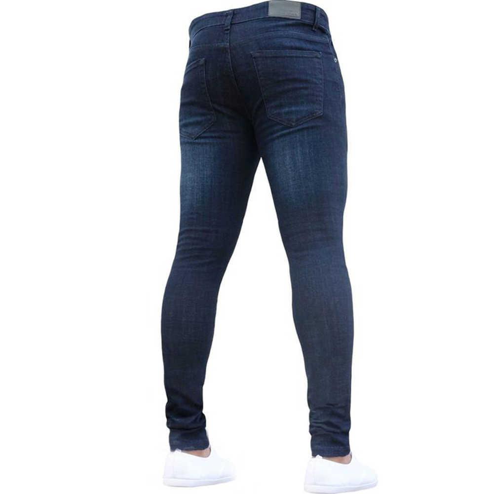 2019 gorące męskie obcisłe dżinsy rurki bardzo obcisłe dżinsy mężczyzn nie zgrywanie Stretch spodnie dżinsowe w pasie duże rozmiary europejskie długie spodnie