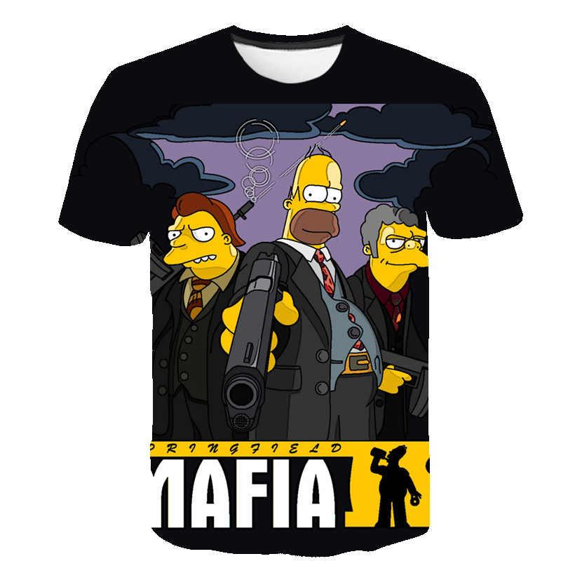 Männer T-Shirt Lustige Homer Simpson Und seinen Sohn 3D Gedruckt Shorts Hülse T-shirt Mode Casual Tops & Tees Marke Unisex kleidung