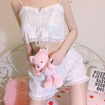 Caiyier 2020 Summer Women Cotton Pajamas Sets Sexy Lace Off Shoulder Sling Sleeve Tops Mini Shorts Temptation Bardot Lingerie bardot flute sleeve florals romper