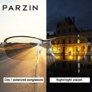 Image 2 - PARZIN חדש גברים של Photochromic מקוטב משקפי שמש באיכות גבוהה מתכת מחצית מסגרת אופנה נגד בוהק משקפיים נהיגה משקפי שמש