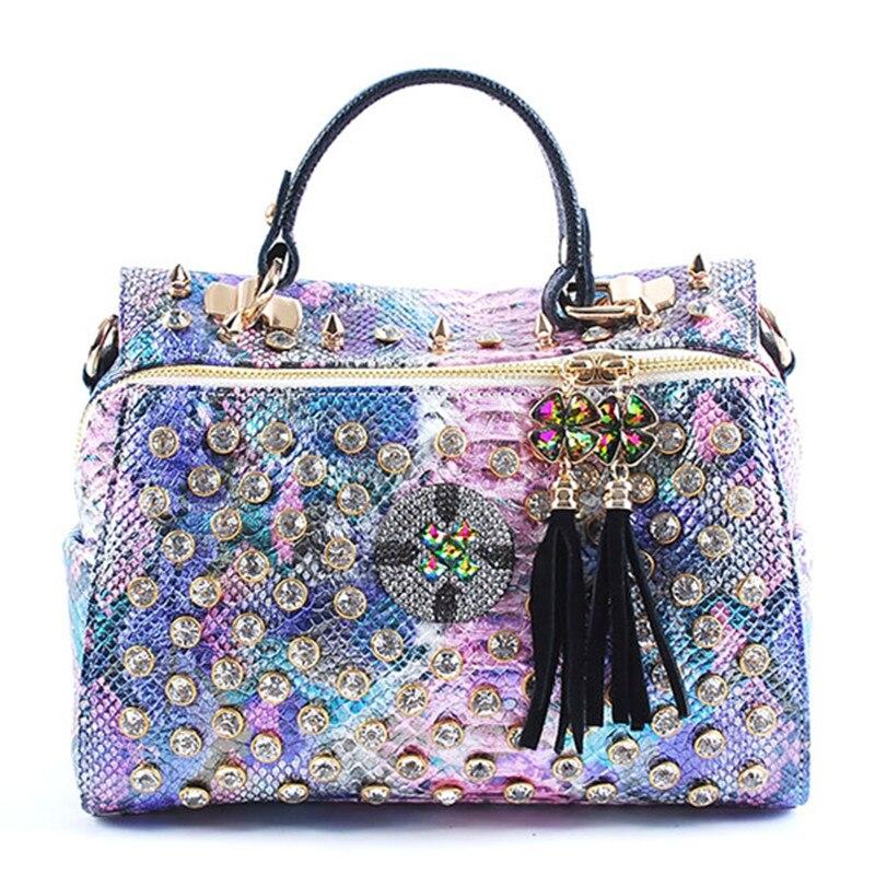 Luxury Fashion Diamond Bag Women Handbag Genuine Leather Female Portable Shoulder Messenger Bag Rhinestone Colorful Tassel Bag| | - AliExpress