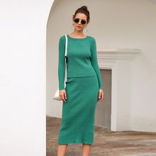 Autumn Winter Knitted 2 Piece Set Women Long Sleeve Pullover Sweater Split Bodycon Midi Pencil Skirt Lady Knitting Suits